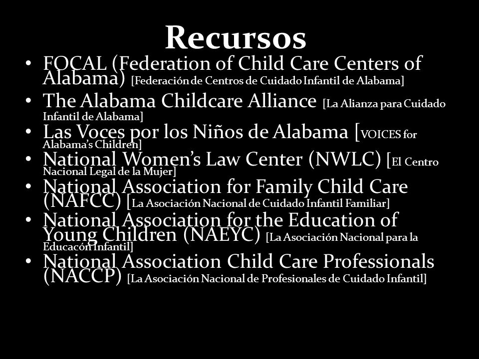 Recursos FOCAL (Federation of Child Care Centers of Alabama) [Federación de Centros de Cuidado Infantil de Alabama]